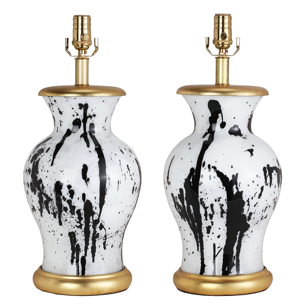 urn-shaped-black-and-white-paint-splattered-lamps