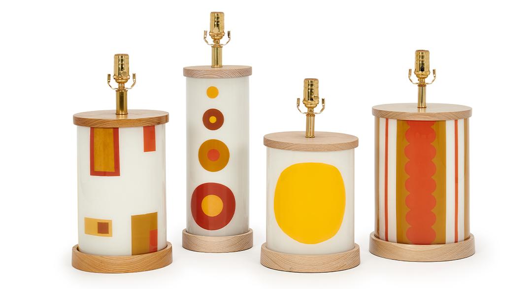 grouping-orange-organic-squares-wood-base-wood-shade-boheme-lamp-collection-liz-marsh-designs